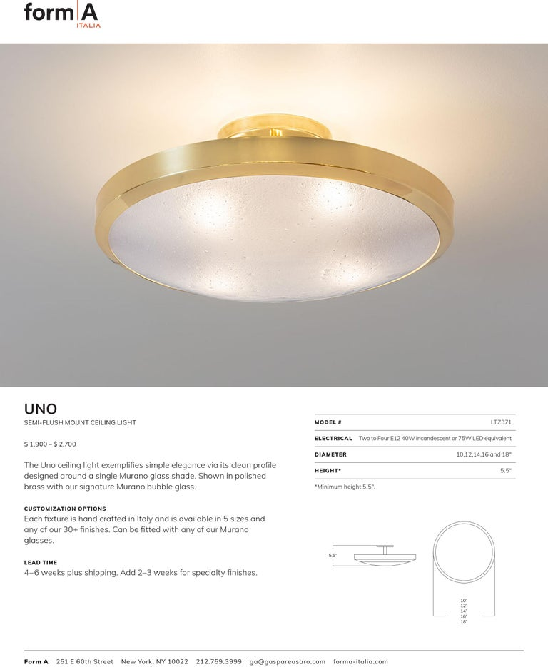 Uno Semi-Flush Mount by form A In New Condition For Sale In New York, NY