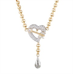 Unoaerre 18 Karat Yellow and White Gold Diamond Heart and Arrow Pendant Necklace
