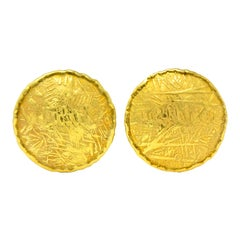 Unoaerre 18 Karat Yellow Gold Textured Disc Earrings
