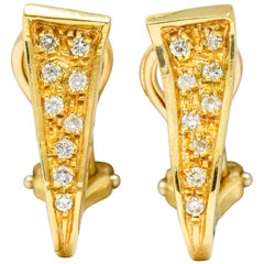 Unoaerre Diamond 18 Karat Gold Italian Huggie Ear-Clip Earrings