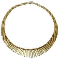 UnoAErre Etruscan Style 14 Karat Gold Graduated Fringe Necklace