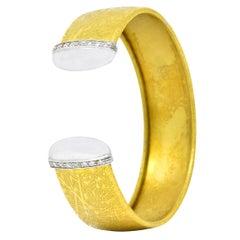 UnoAErre Italian Contemporary Diamond 18 Karat Two-Tone Gold Cuff Bracelet