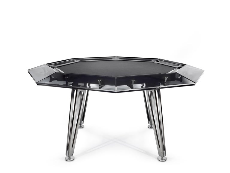 Italian Unootto All Black Marble 8 Player Poker Table by Impatia For Sale