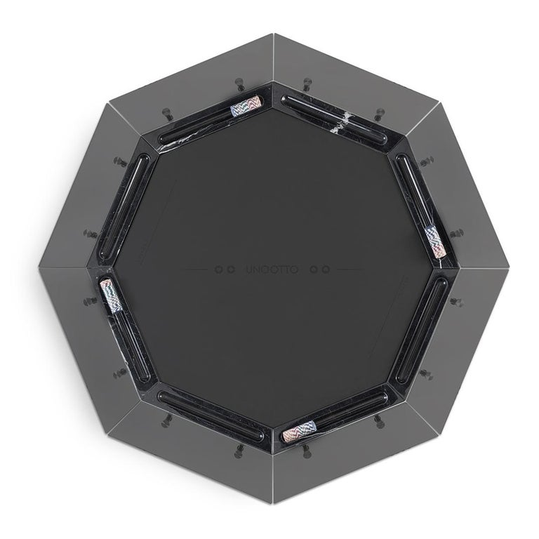 Contemporary Unootto All Black Marble 8 Player Poker Table by Impatia For Sale