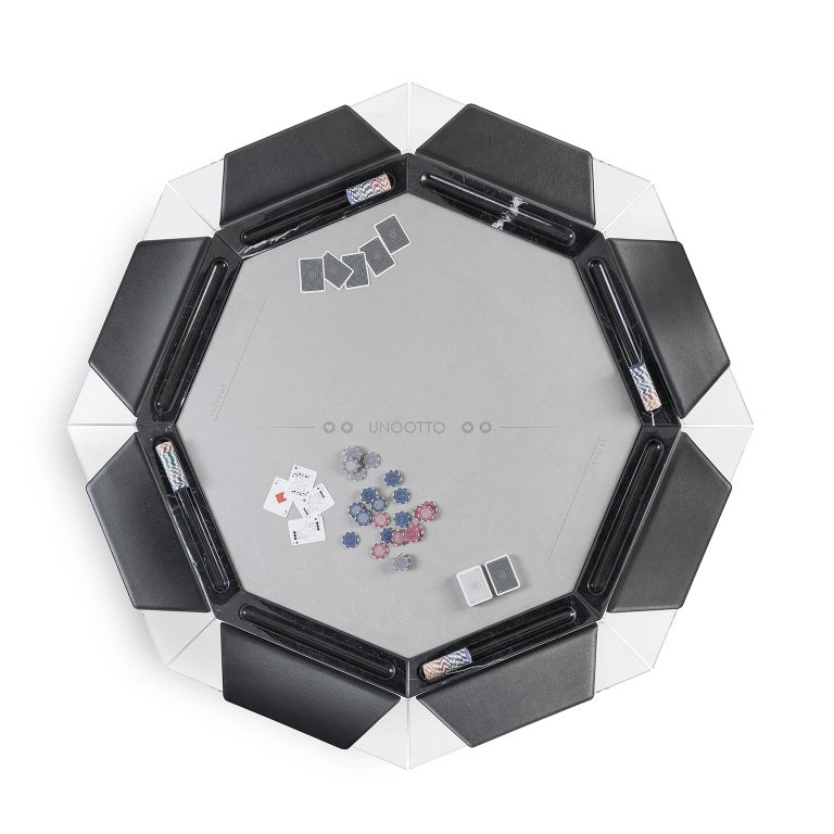 Italian Unootto Black Marble 8 Player Poker Table by Impatia For Sale