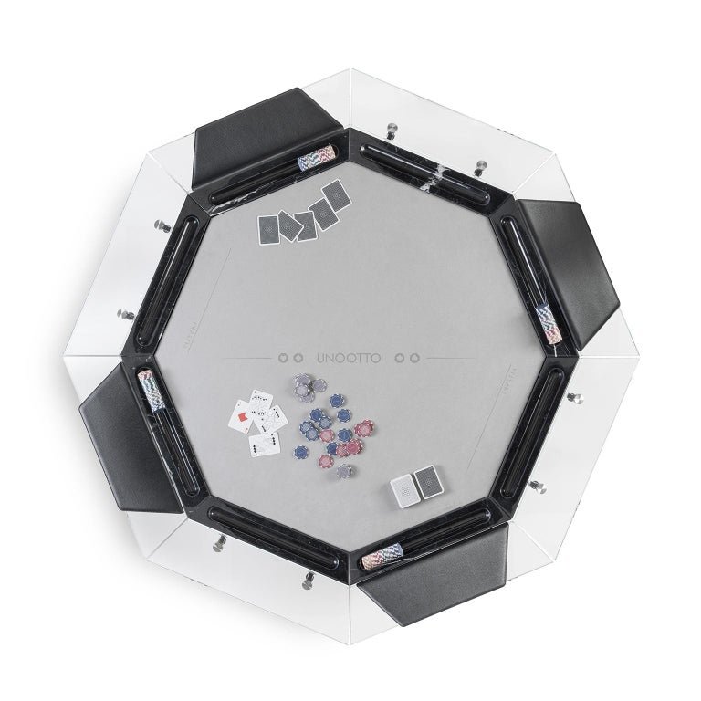 Unootto Black Marble 8 Player Poker Table by Impatia In New Condition For Sale In Milan, IT