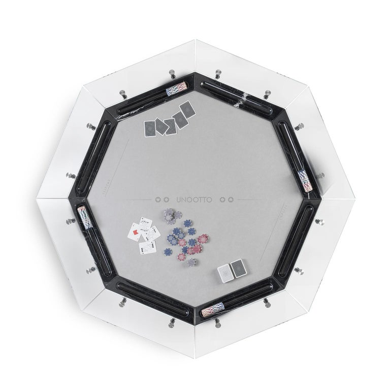 Contemporary Unootto Black Marble 8 Player Poker Table by Impatia For Sale