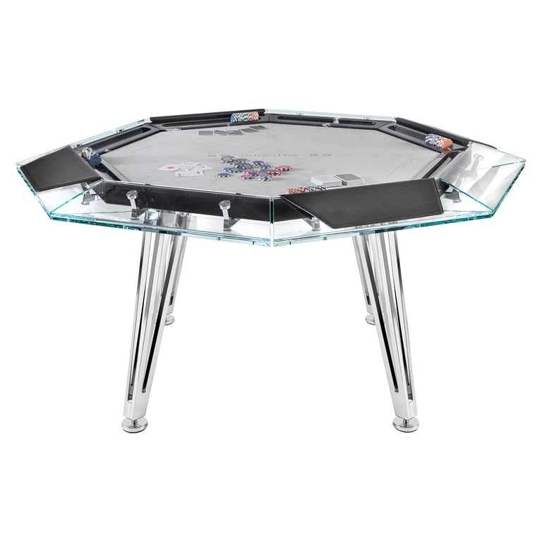 Unootto Black Marble 8 Player Poker Table by Impatia For Sale