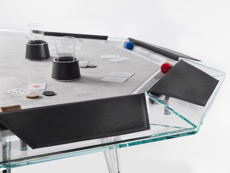 Modern Unootto Marble Edition 10 Player Poker Table by Impatia For Sale