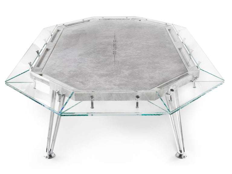 Italian Unootto Marble Edition 10 Player Poker Table by Impatia For Sale