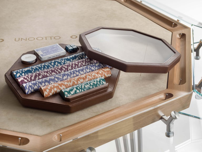 Italian Unootto Wood Edition 8 Player Poker Table by Impatia For Sale