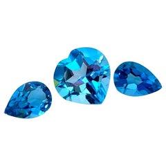 Unset Blue Topaz Lot, 3 Loose Necklace / Earring Gemstones, 18.01 Carat Total