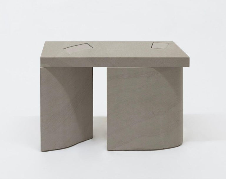 Contemporary Unsighted Table 2 by Bahraini-Danish in Giallo Avorio Marble For Sale