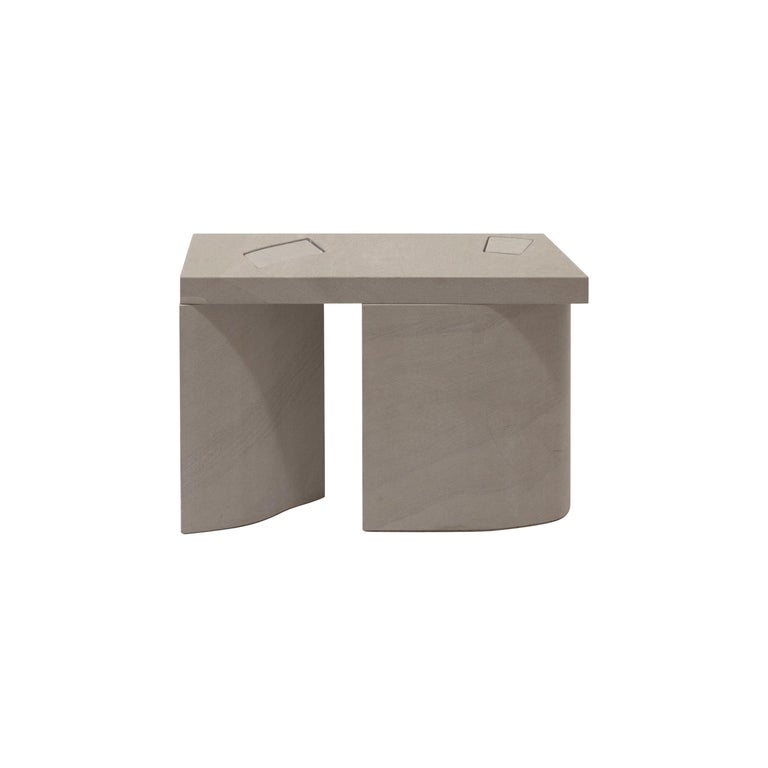 Unsighted Table 2 by Bahraini-Danish in Giallo Avorio Marble For Sale