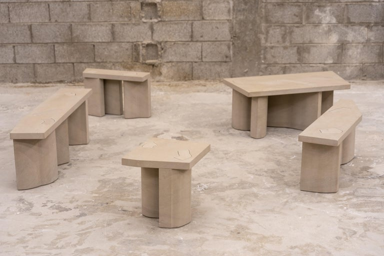 Contemporary Unsighted Table 5 by Bahraini-Danish in Giallo Avorio Marble For Sale