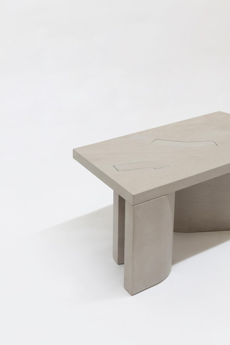 Unsighted Table 5 by Bahraini-Danish in Giallo Avorio Marble For Sale 1