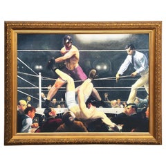 Unsigned Knock Out Boxing Fight Oil on Canvas, Framed