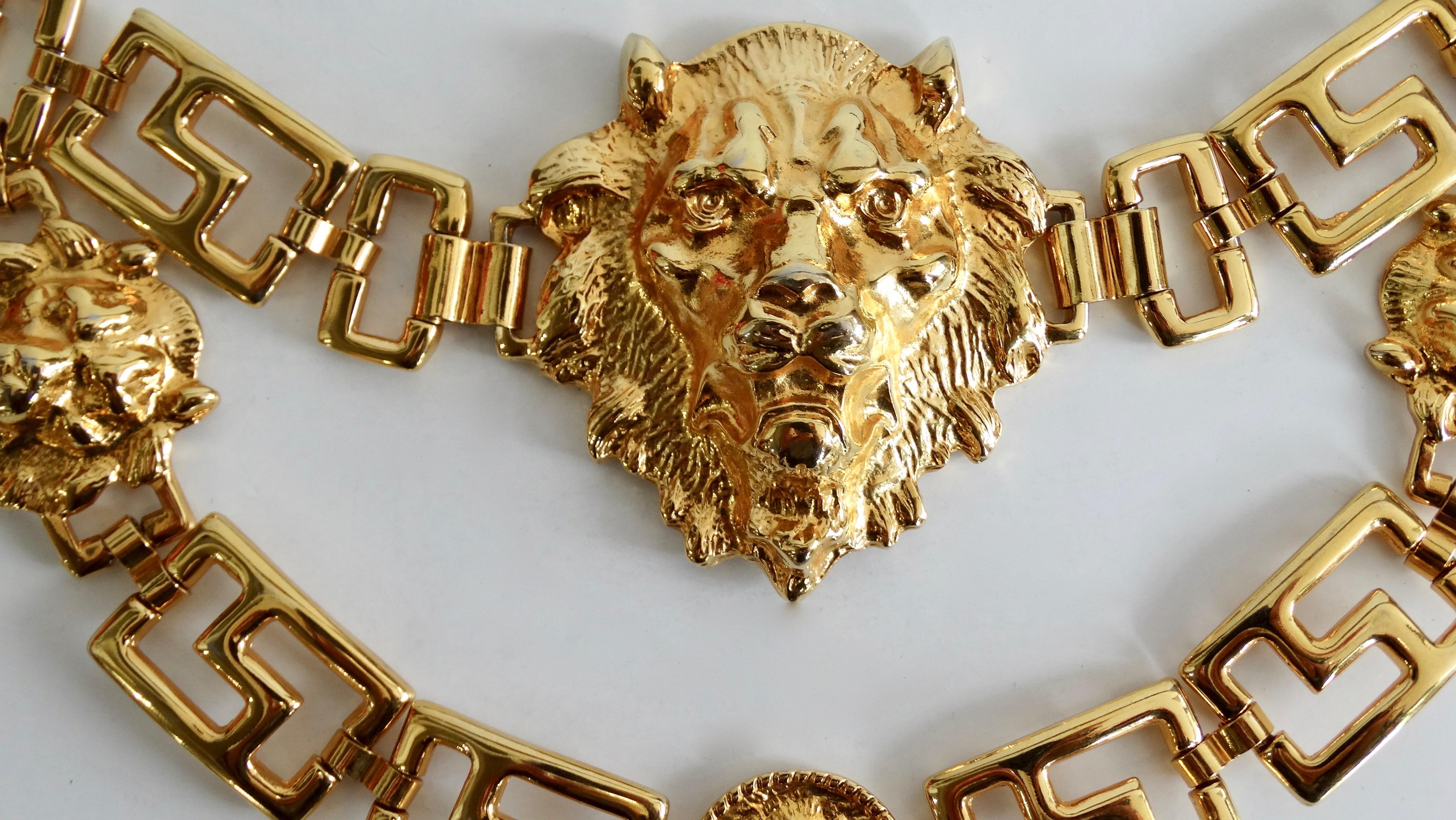 Brown gold lion Versace look button