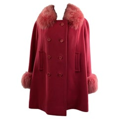 Unsigned Vintage Hot Pink Wool Double Breasted Coat with Fox Fur Trim