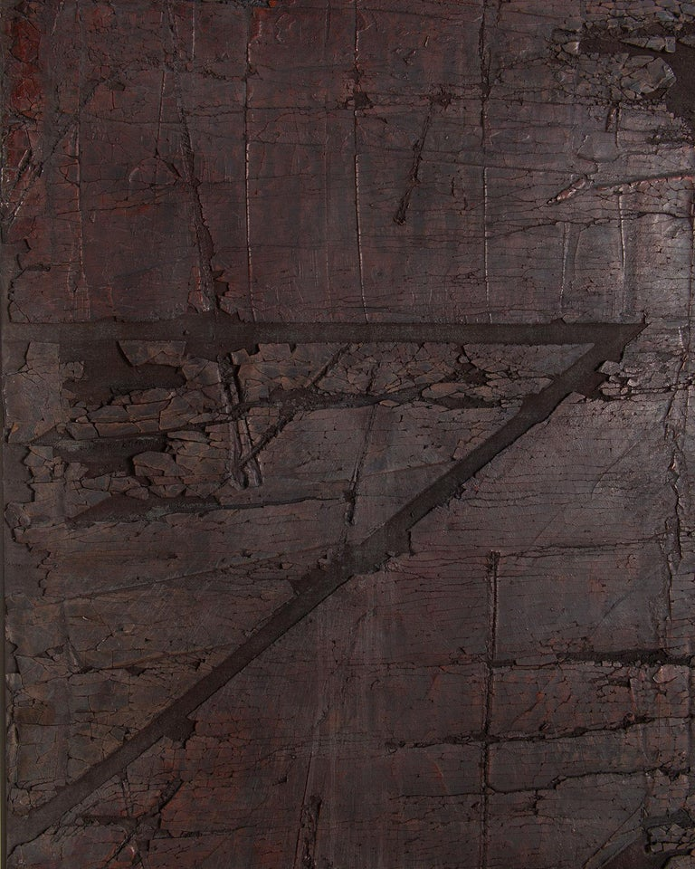 A textural mixed-media painting by American Contemporary artist, Harry Bouras. Oil and plaster on canvas, signed en verso, titled, dated 7-77, unframed.