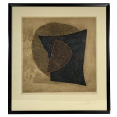 Untitled Abstract Etching by Brazilian Artist Arthur Luis PIZA