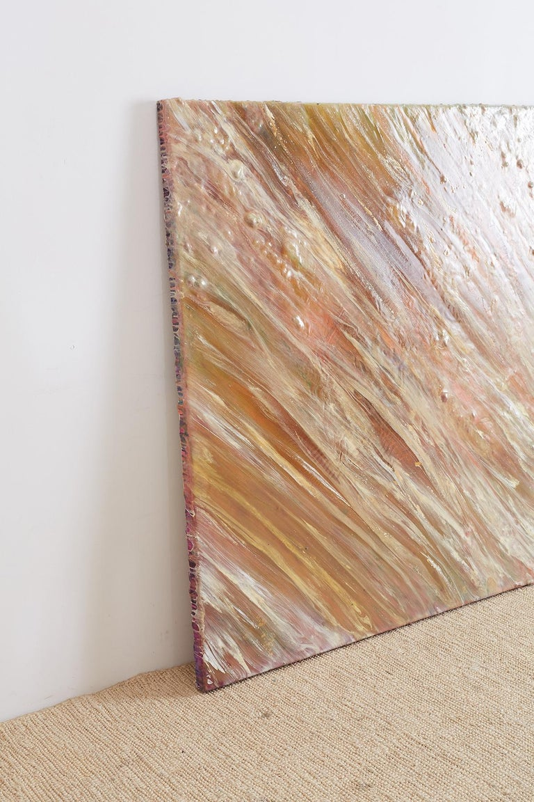 Stunning untitled abstract painting by Bill Kleiman artist/sculptor from Los Angeles, CA. Features an array of colors green, pink, gray, white, and metallic gold. The large painting is made with thick applied paint and almost comes off the canvas,