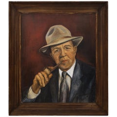 Untitled Acrylic on Canvas Gentleman with Pipe Signed Helen Burke, 1955