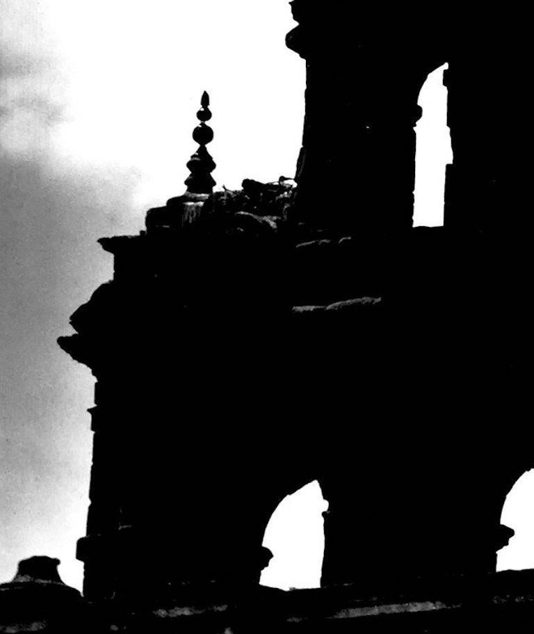Untitled, Church Spire, Seville, circa 1930 by Martin Munkacsi Silver gelatin print Image size: 13.13 in. H x 10.38 in. W Sheet size: 14.88 in. H x 11.75 in. W Stamped on verso 'copyright Estate Martin Munkacsi'  Martin Munkácsi (born