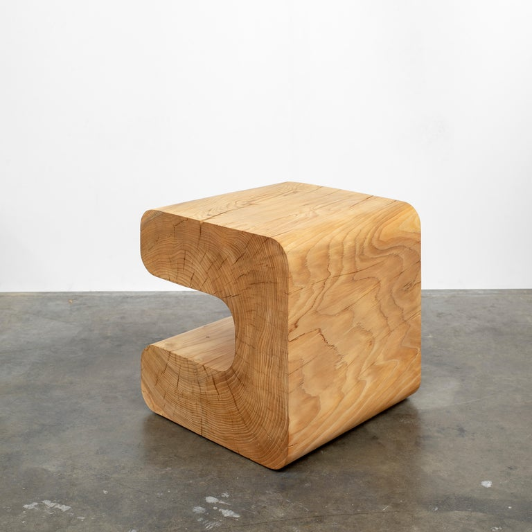 Oiled Untitled Deodar Cedar Sculptural Side Table by Christopher Norman For Sale