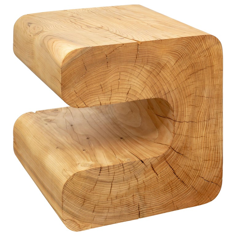 Untitled Deodar Cedar Sculptural Side Table by Christopher Norman For Sale