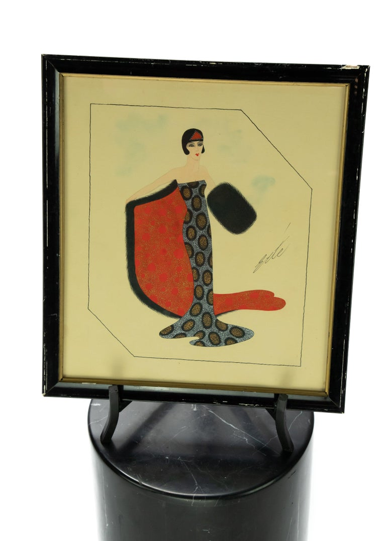 Offering this fabulous Erte' gouache illustration of a stunning woman in a gown. The gown features silver and gold dots in a geometric design. It depicts a cape and muff. The cape is done in a bright red orange color with gold dots accenting. And