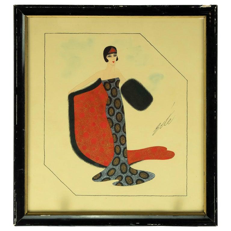 """'""""Untitled"""" Erté Fashion Gouache Illustration For Sale"""