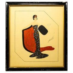 """""""Untitled"""" Erté Fashion Gouache Illustration"""