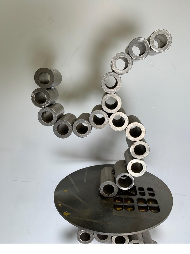 Steel Untitled Floor Sculpture or Side Table by D. Phillips For Sale