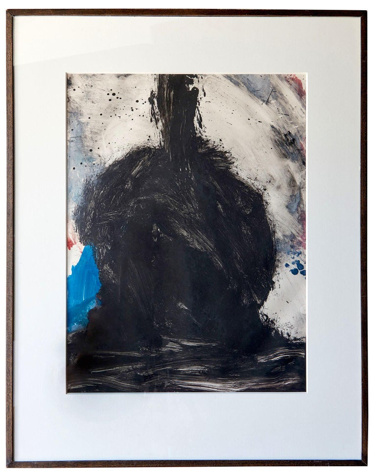 This untitled abstract expressionist piece is a monotype (ink painting) by the hand of the inimitable enfant terrible of American Postwar ceramics and sculpture, Peter Voulkos. Effectively an original painting transferred directly to paper, the