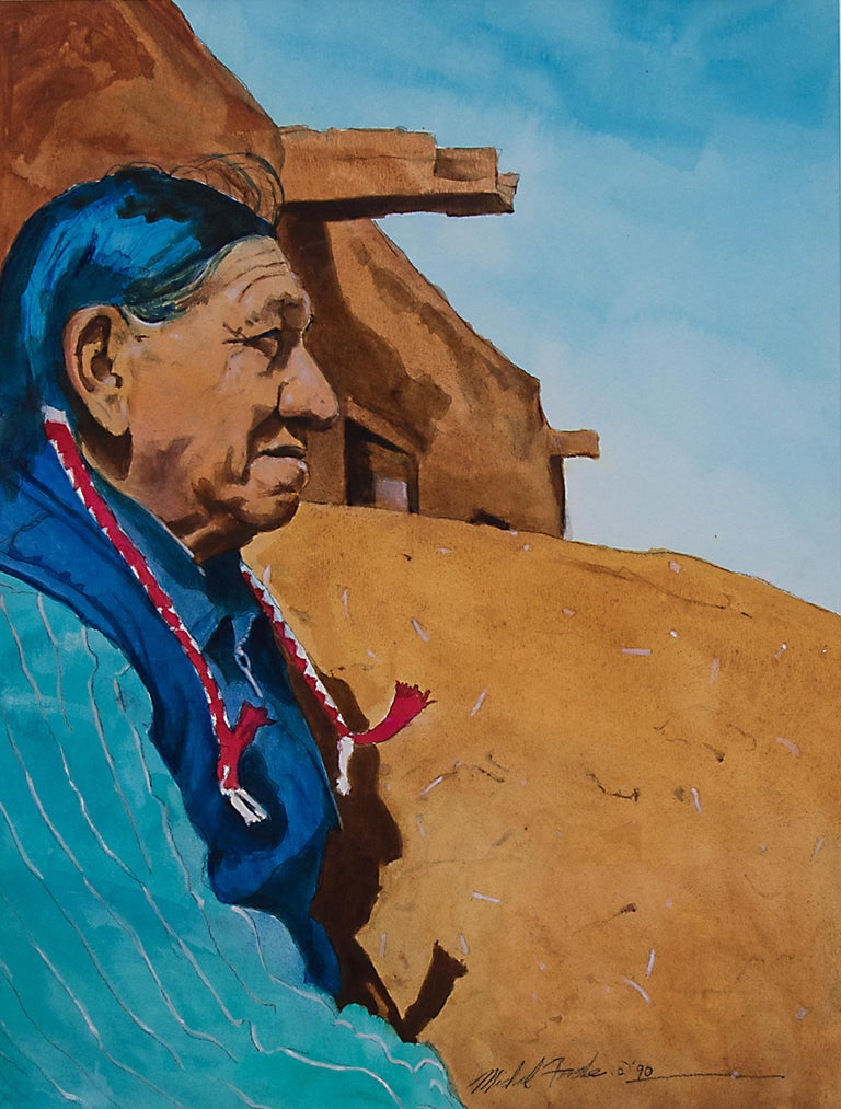 Original watercolor painting of a Native American man and Pueblo at Taos, New Mexico by Michael Forde. Watercolor on paper, signed and dated lower right. Presented in a custom frame with all archival materials, outer dimensions measure 26 ¾ x 21 ¾