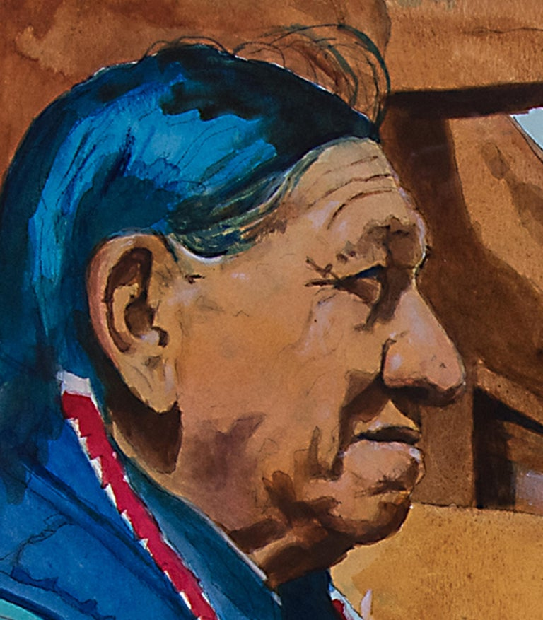 Untitled 'Native American Man, Taos Pueblo' Original Framed Painting In Excellent Condition For Sale In Denver, CO