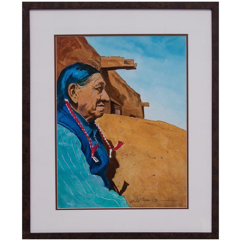 Untitled 'Native American Man, Taos Pueblo' Original Framed Painting For Sale