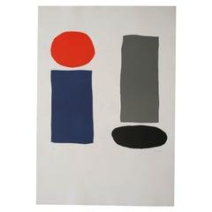 UNTITLED Original Bauhaus Artist Linocut Print, Signed Werner Graeff