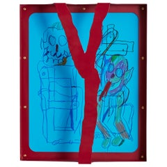 """""""Untitled (Red)"""" framed drawing by Serban Ionescu, 2018"""