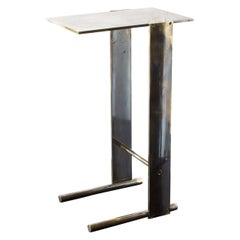"Untitled Side Table 1.0 ""Smoke"" Patinated Brass Small Accent, End or Drink Stand"
