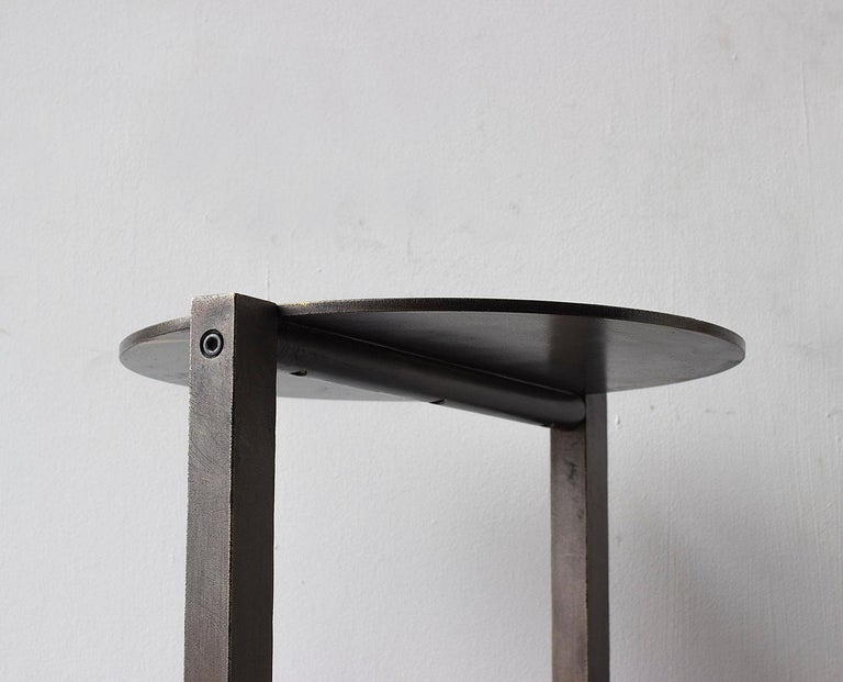 Bauhaus Untitled Side Table 2.0 Blackened Brass Small Round Accent, End or Drink Tray For Sale