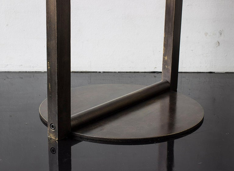 American Untitled Side Table 2.0 Blackened Brass Small Round Accent, End or Drink Tray For Sale