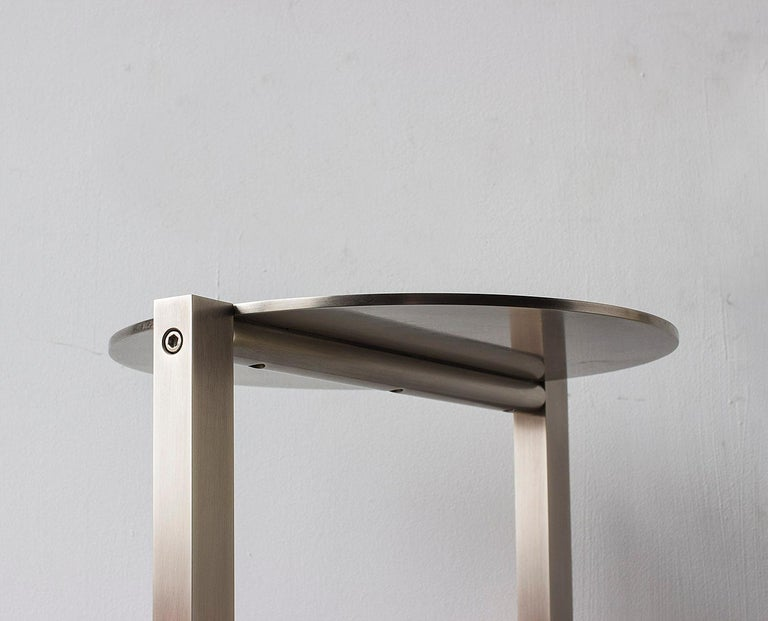 Bauhaus Untitled Side Table 2.0 Burnished Nickel Small Round Accent, End or Drink Tray For Sale