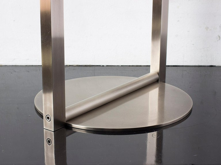 American Untitled Side Table 2.0 Burnished Nickel Small Round Accent, End or Drink Tray For Sale