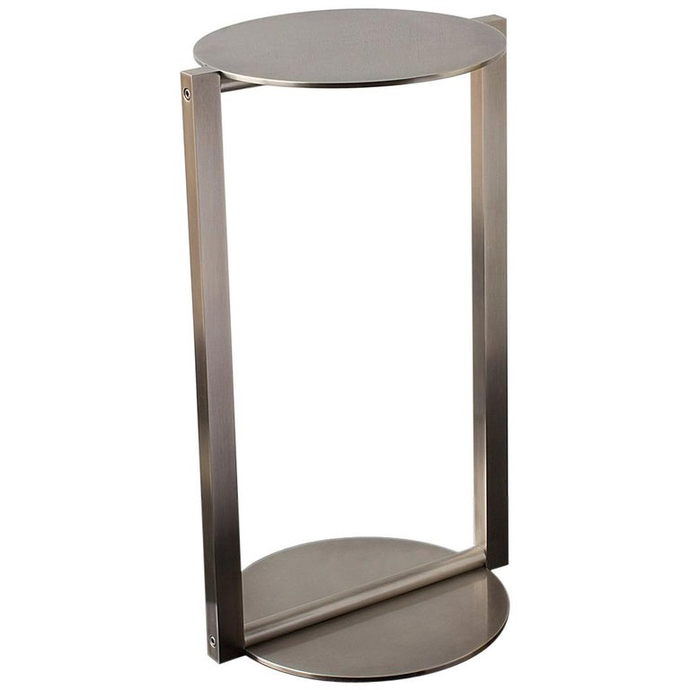 Untitled Side Table 2.0 Burnished Nickel Small Round Accent, End or Drink Tray For Sale