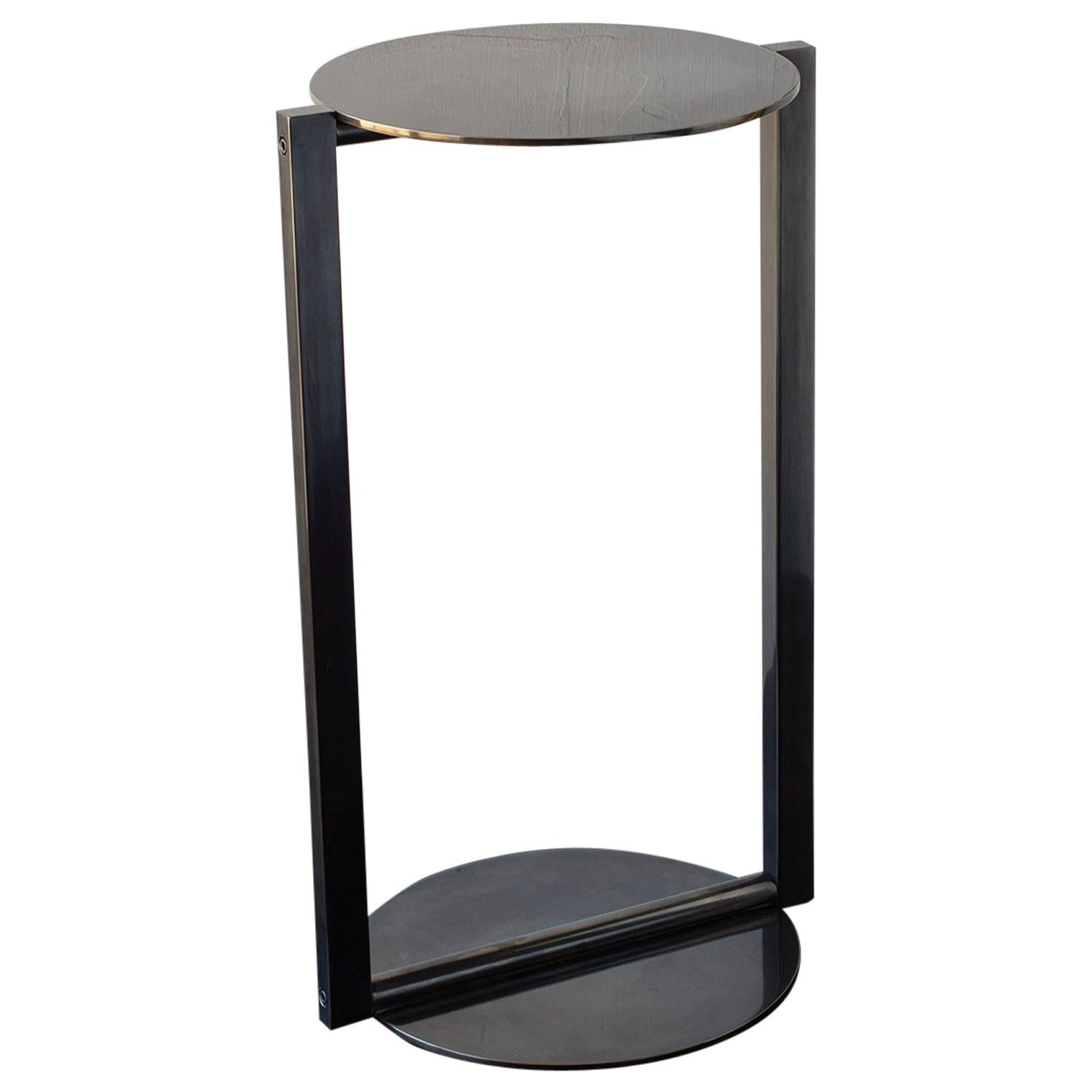 Untitled Side Table 2.0 Dark Patinated Brass Small Round Accent, End, Drink Tray