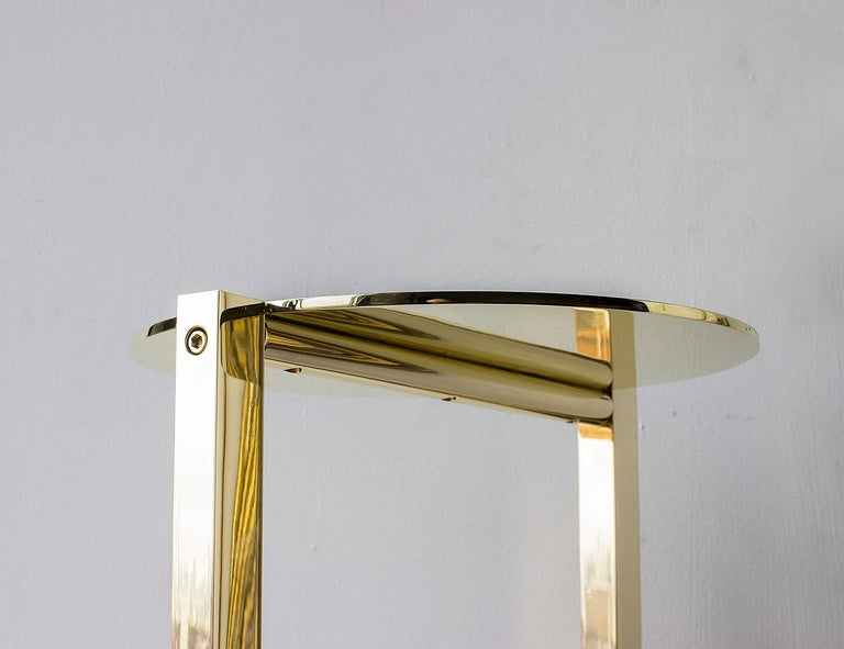Bauhaus Untitled Side Table 2.0 Polished Brass Small Round Accent, End or Drink Tray For Sale