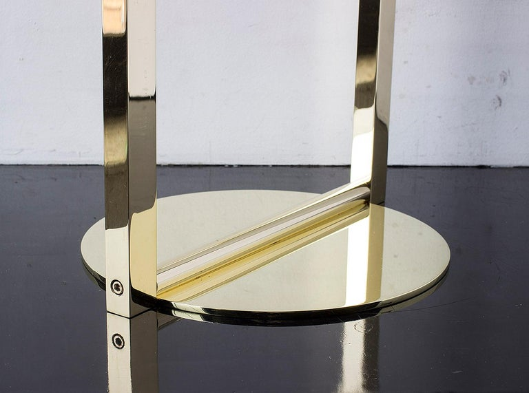 American Untitled Side Table 2.0 Polished Brass Small Round Accent, End or Drink Tray For Sale