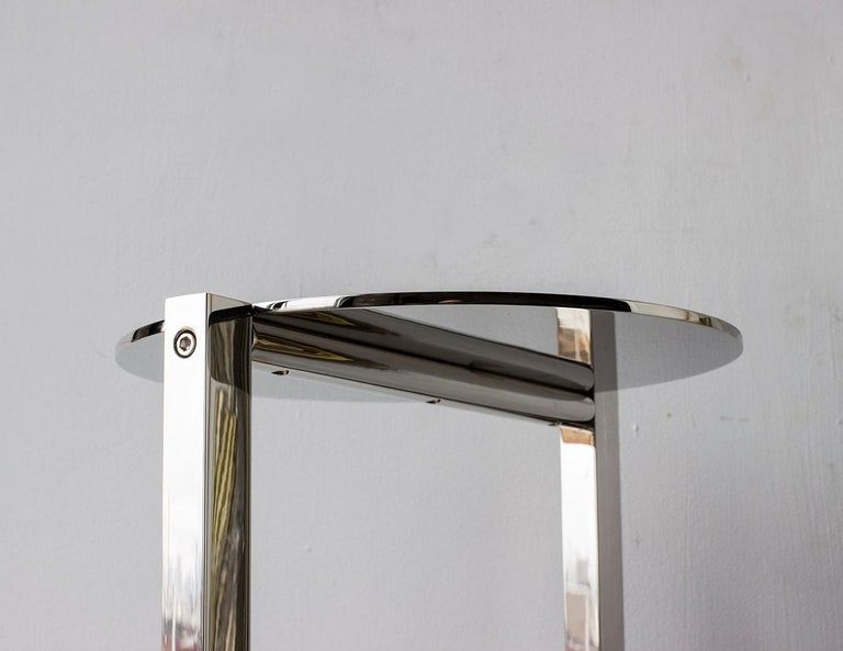 Bauhaus Untitled Side Table 2.0 Polished Nickel Small Round Accent, End or Drink Tray For Sale